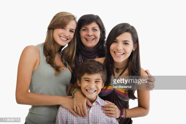 Smiling Hispanic family