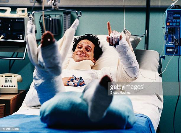 Smiling Hospital Patient Wearing Body Cast