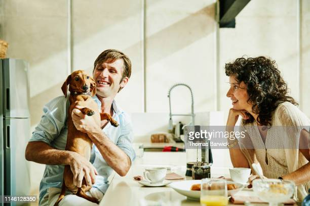 smiling husband holding dog while eating breakfast with family - canine stock pictures, royalty-free photos & images