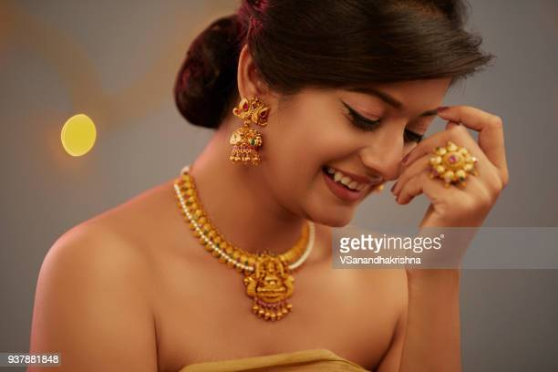 smiling indian beauty portrait with jewelry - south asia stock pictures, royalty-free photos & images