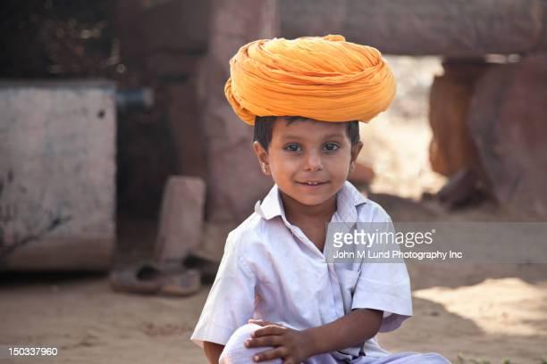 Smiling Indian boy in large turban