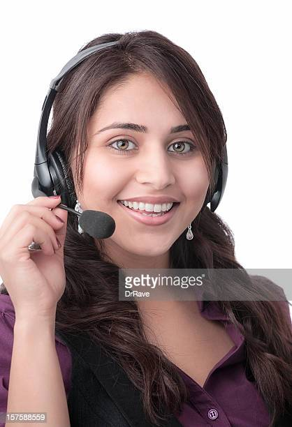 Smiling Indian woman with headset