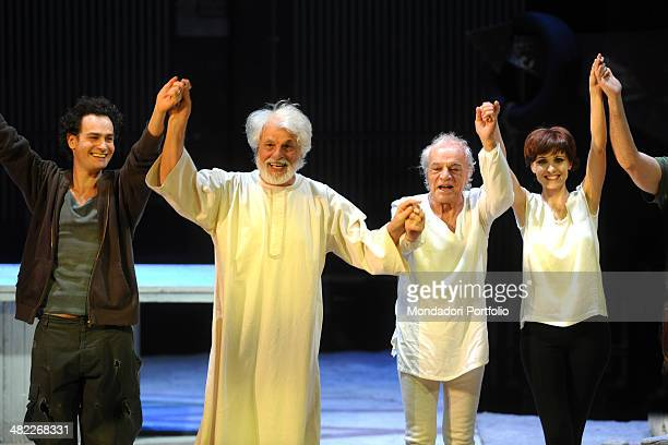 Smiling Italian actors Giulio Forges Davanzati Michele Placido Gigi Angelillo and Federica Vincenti onstage greets and thanks the audience at the end...