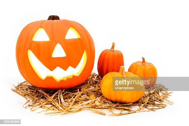 smiling jack o' lantern and smaller pumpkins on white background - cmannphoto stock pictures, royalty-free photos & images