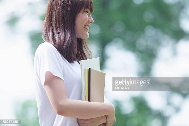 Smiling japanese girls student