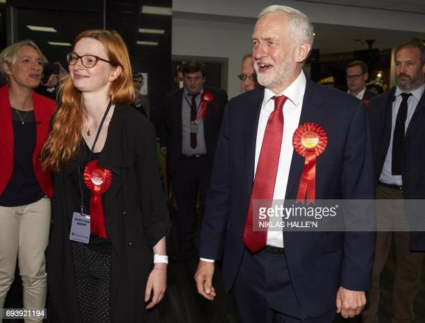 A smiling Jeremy Corbyn Labour party leader arrives at the count centre in Islington London early in the morning of June 9 hours after the polls...