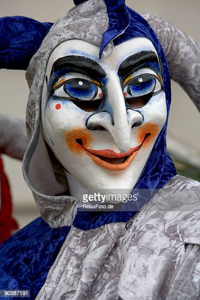 smiling jester mask at fasnacht festival in basel, switzerland (xxl) - nose mask stock pictures, royalty-free photos & images