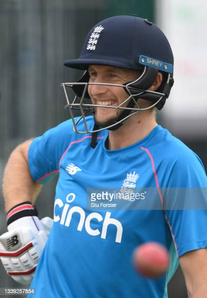 Smiling Joe Root during England nets ahead of the 5th and final test match against India at Old Trafford on September 09, 2021 in Manchester, England.