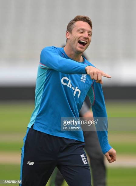 Smiling Jos Buttler during England nets ahead of the 5th and final test match against India at Old Trafford on September 09, 2021 in Manchester,...