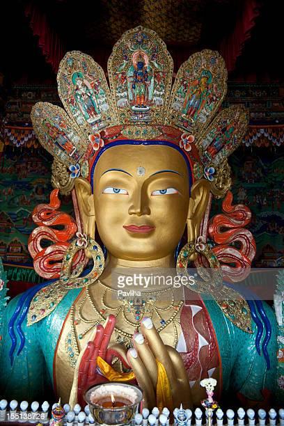 smiling maitreya buddha in thiksey gompa ladakh - bodhisattva stock pictures, royalty-free photos & images