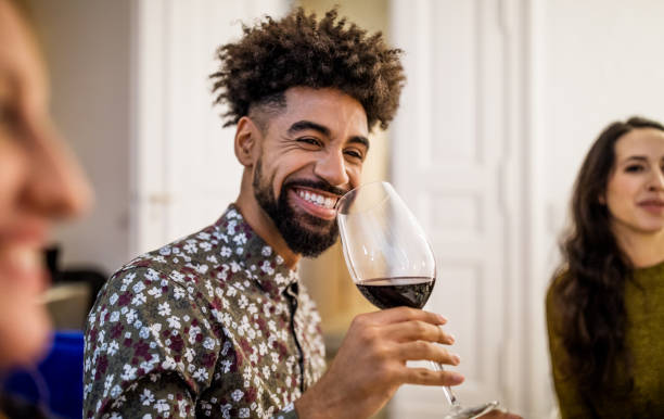 Smiling Man Drinking Red Wine - Fine Art prints