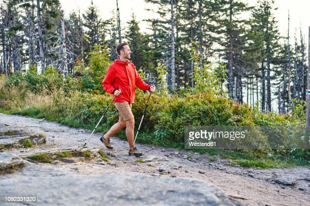 smiling man hiking in the mountains - hiking pole stock pictures, royalty-free photos & images