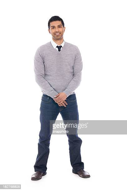 Smiling Man Isolated on White Background - Full Body