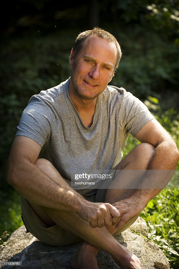 Smiling Man Outdoors : Stock Photo
