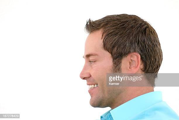 smiling man profile