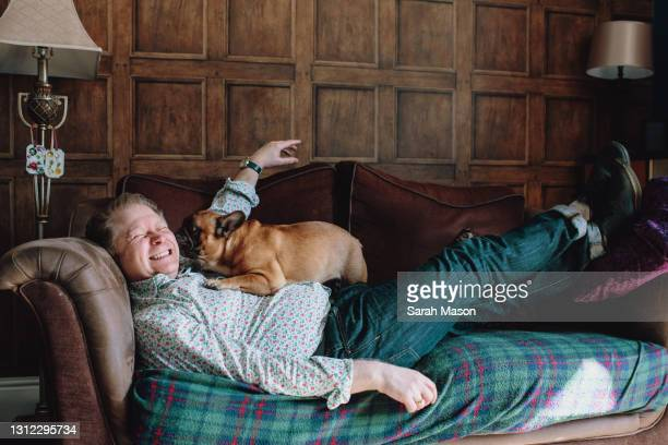 smiling man reclining on sofa with dog - mammal stock pictures, royalty-free photos & images