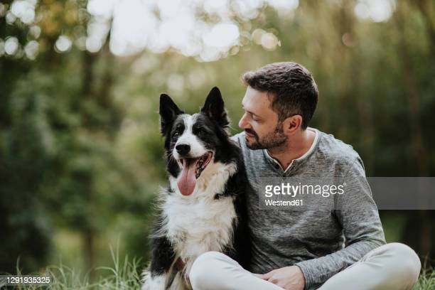 smiling man staring dog while sitting at public park - collie stock pictures, royalty-free photos & images
