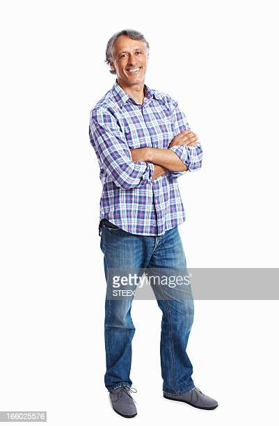 Homme souriant avec bras Plié