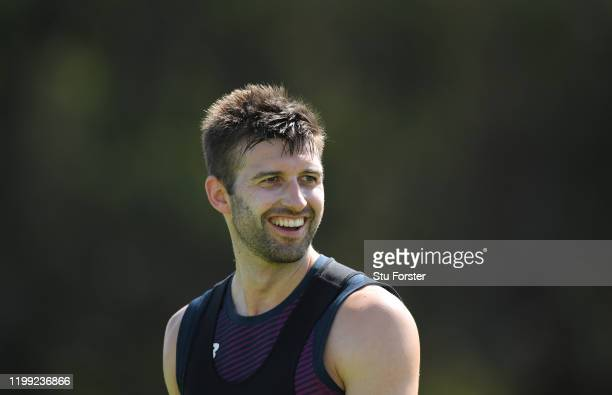 A smiling Mark Wood looks on during England nets at St George's Park on January 13 2020 in Port Elizabeth South Africa