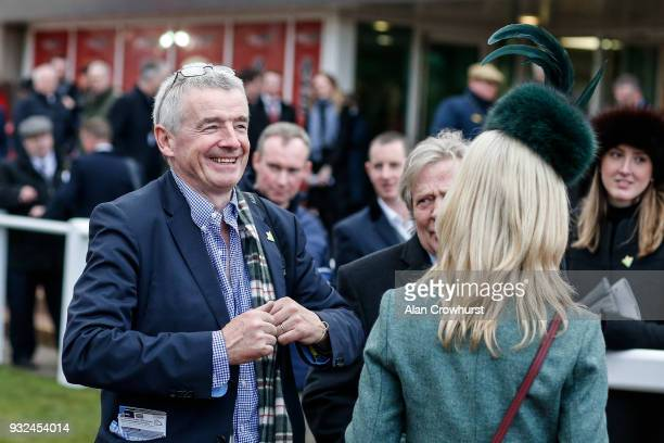 A smiling Michael O'Leary at Cheltenham racecourse on St Patrick's Thursday on March 15 2018 in Cheltenham England