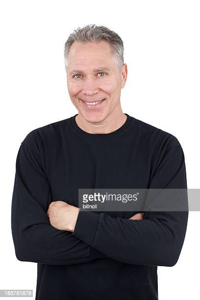 smiling middle age man with black long sleeve shirt - male torso stock photos and pictures