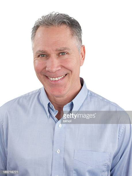 Smiling middle age man with blue shirt