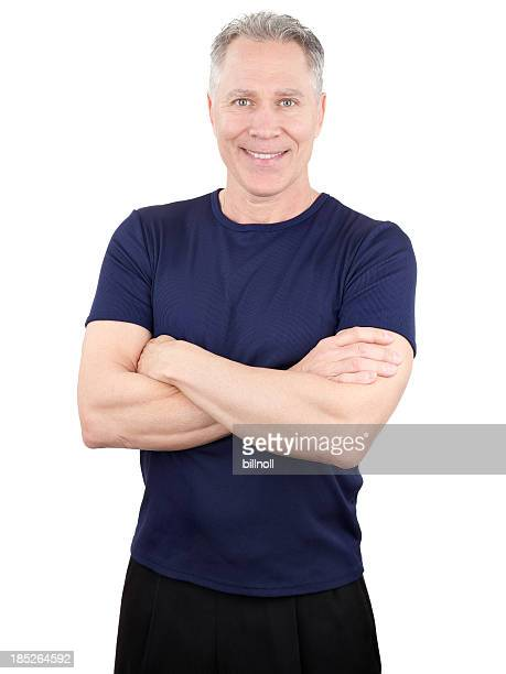 Smiling middle age man with dark blue shirt