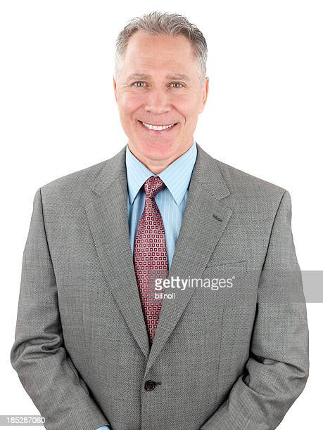 Smiling middle age man with gray suit coat