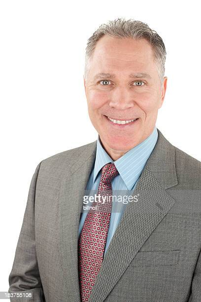 Smiling middle age man with grey suit and tie
