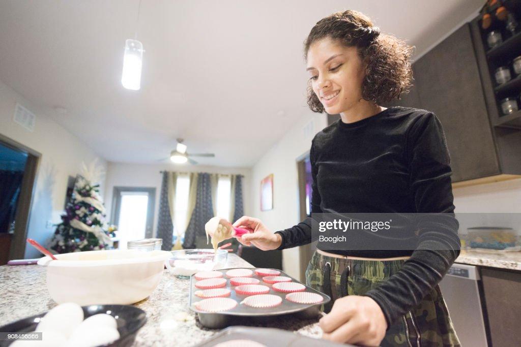 Smiling Millennial Hispanic Woman Baking at Home Orlando USA : Stock Photo