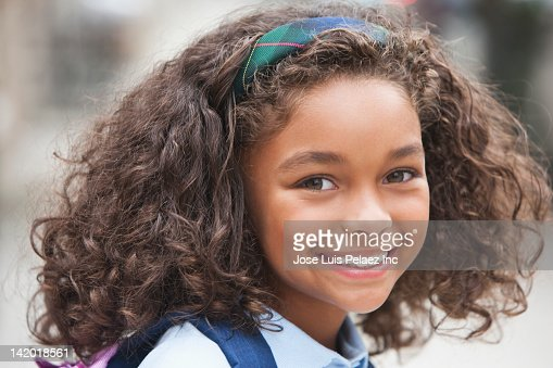 Smiling Mixed Race Girl Stock Photo Getty Images