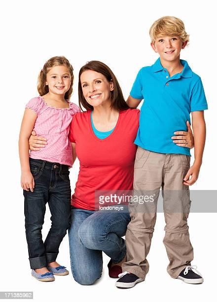 Lächelnd Mutter mit ihren Kindern-isoliert