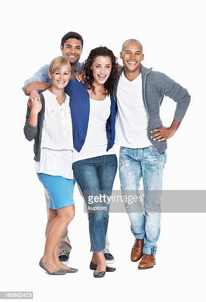 Équipe multi ethnique souriant