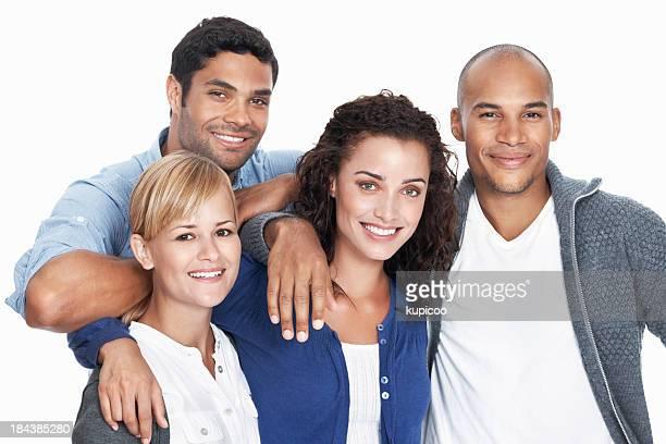 Smiling multi racial group