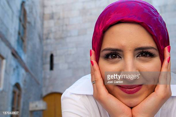 smiling muslim woman - syrian culture stock photos and pictures