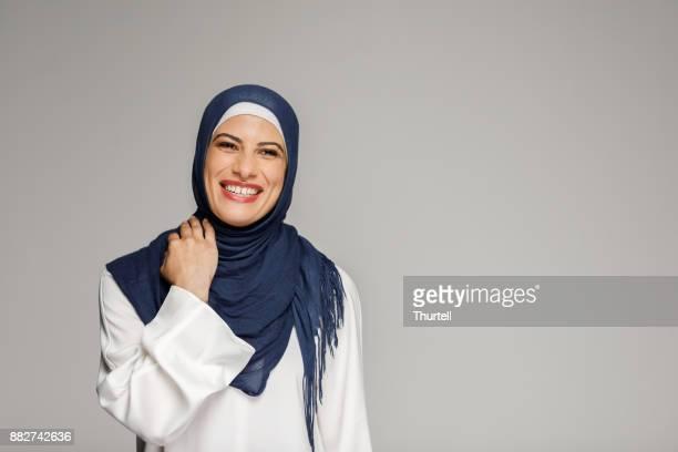Smiling Muslim Woman Wearing Hijab