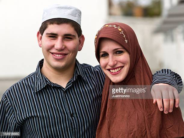 smiling muslim young couple - egyptian culture stock photos and pictures