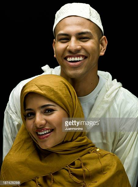 smiling muslim young couple - syrian culture stock photos and pictures
