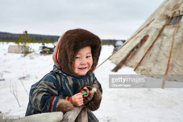 smiling nenets child - cliqueimages stock pictures, royalty-free photos & images