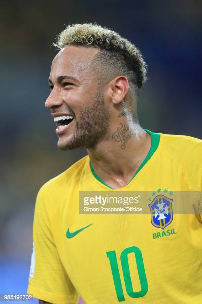 Smiling Neymar of Brazil during the 2018 FIFA World Cup Russia Group E match between Serbia and Brazil at Spartak Stadium on June 27, 2018 in Moscow,...