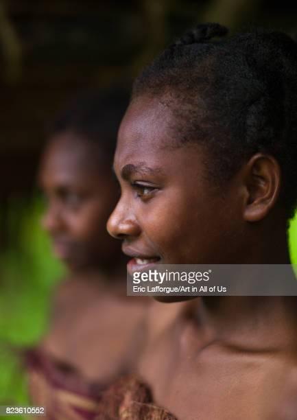 Smiling nivanuatu girls Sanma Province Espiritu Santo Vanuatu on September 2 2007 in Espiritu Santo Vanuatu