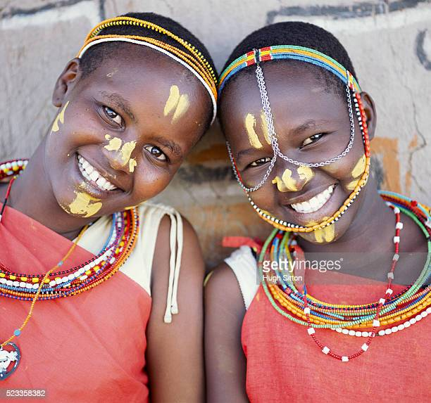 smiling njemps tribal women - hugh sitton stock pictures, royalty-free photos & images
