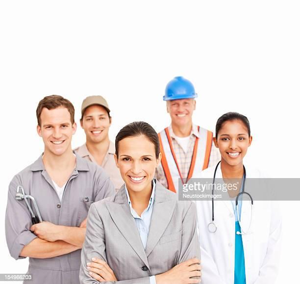 Lächelnden Menschen verschiedener Berufe-isoliert
