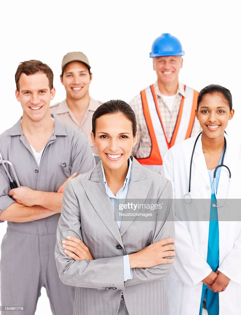 Smiling People Of Various Occupations : Stock Photo