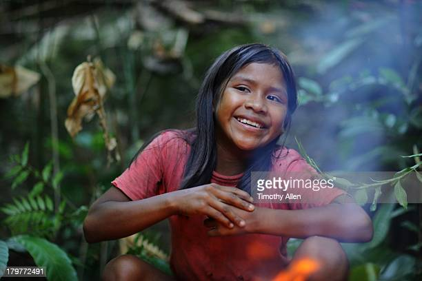 Smiling Piaora tribal girl in jungle, Venzuela