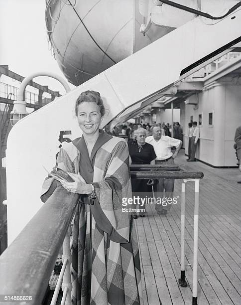 Smiling portrait of American actress Agnes Moorehead on cruise ship