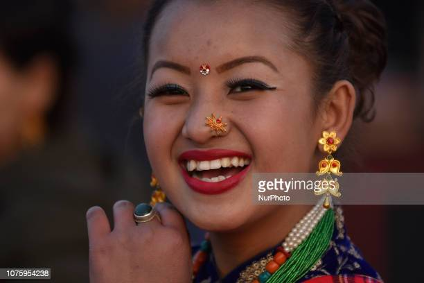 A Smiling Portrait of Gurung girl in a traditional attire during Tamu Lhosar or New Year celebrated in Kathmandu Nepal on Sunday December 30 2018...