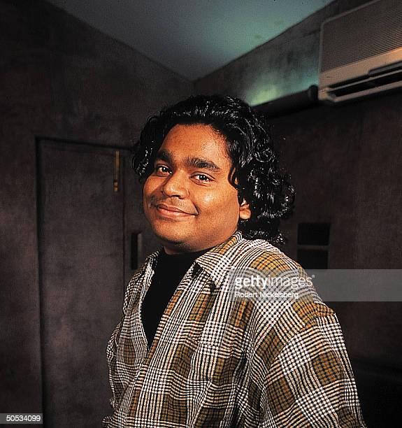 Smiling portrait of Indian singer/composer AR Rahman at Madras Studio