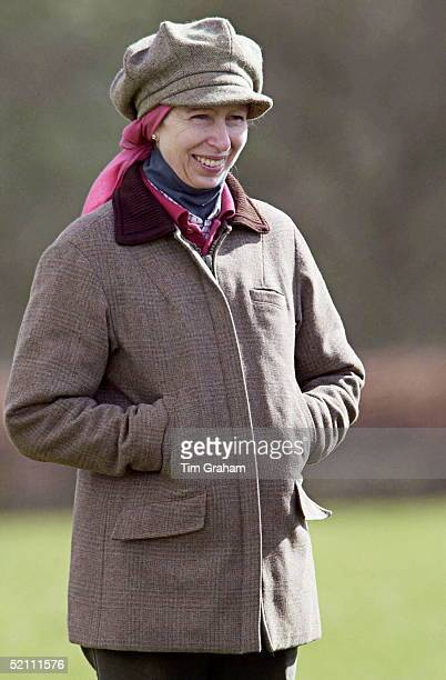 Smiling Princess Anne Watching Her Daughter Compete At Gatcombe Park Horse Trials