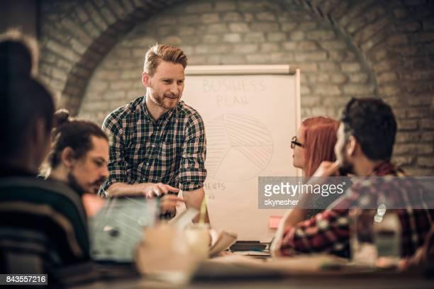 Lächelnde Rothaarige Geschäftsmann im Gespräch mit seinem Team auf eine Geschäftspräsentation.